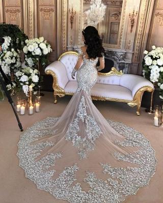 Hermosos vestidos de novia de sirena de cuello alto de plata de lujo de manga larga de encaje_3