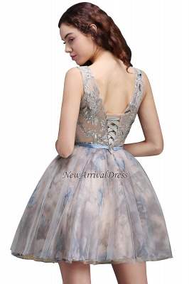 Straps Belt Flowers Sleeveless Cute Short Lace-up Homecoming Dress_5