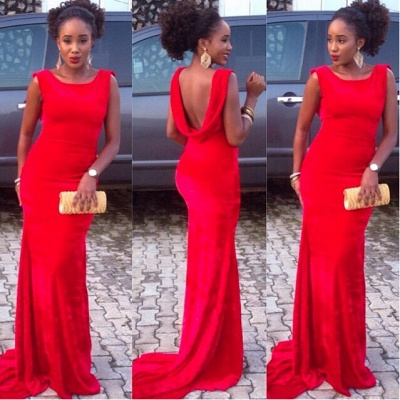 Red Mermaid Backless Prom DressesCustom Made Sweep Train Evening Gowns_3