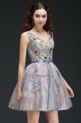 Straps Belt Flowers Sleeveless Cute Short Lace-up Homecoming Dress_6
