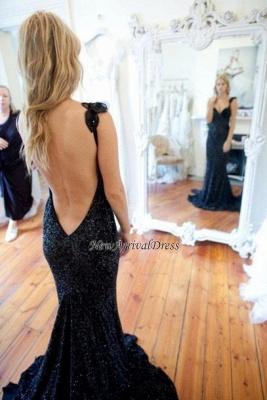 Sleeveless Black Mermaid Sequined Modern Straps Sweep-Train Prom Dress_1