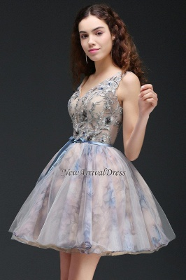Straps Belt Flowers Sleeveless Cute Short Lace-up Homecoming Dress_2