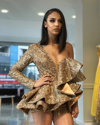 One Sleeve Gold Sequins Prom Dresses Cheap  | See Through Tulle Appliques Long Formal Gowns BA9830_3