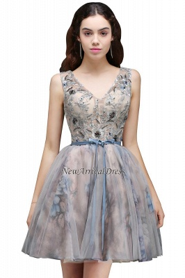 Straps Belt Flowers Sleeveless Cute Short Lace-up Homecoming Dress_3