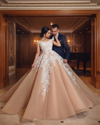 Off The Shoulder Lace Champagne Wedding Dresses   Puffy Tulle Elegant Bridal Gowns Cheap Online_5