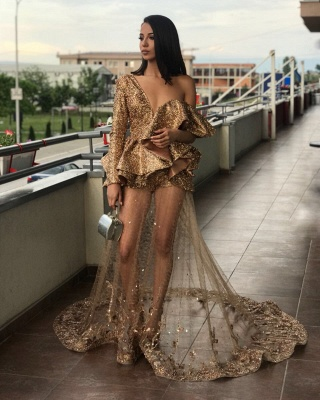 One Sleeve Gold Sequins Prom Dresses Cheap  | See Through Tulle Appliques Long Formal Gowns BA9830_5