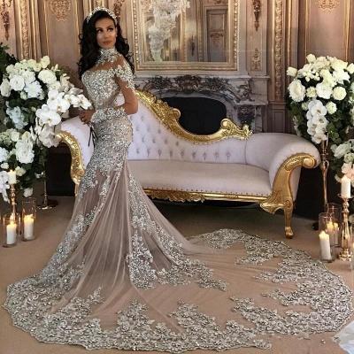 Hermosos vestidos de novia de sirena de cuello alto de plata de lujo de manga larga de encaje_4