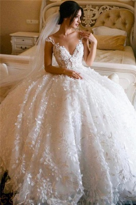 Lace Appliques Princess Wedding Dresses Cheap 2021 | Sleeveless Sheer Tulle Neckline Ball Gown Wedding Dress