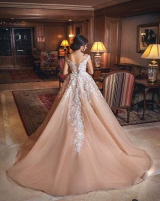 Off The Shoulder Lace Champagne Wedding Dresses | Puffy Tulle Elegant Bridal Gowns Cheap Online_3
