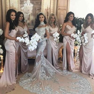Hermosos vestidos de novia de sirena de cuello alto de plata de lujo de manga larga de encaje_5
