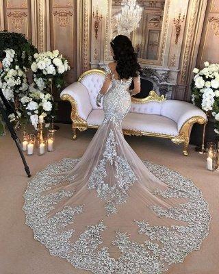Beautiful Lace Long Sleeve Luxury Silver High Neck Mermaid Wedding Dresses_3