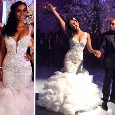Ruffles Mermaid Sexy Spaghetti Straps Crystals Tulle Luxurious Wedding Dress Cheap_3