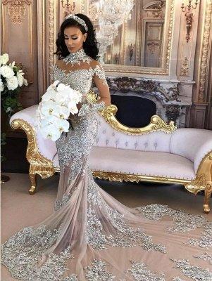 Hermosos vestidos de novia de sirena de cuello alto de plata de lujo de manga larga de encaje_2