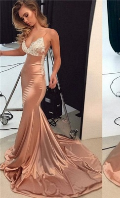 Sparkly Lace Appliques Mermaid Evening Dresses | Spaghetti Straps Sexy Long Prom Dresses