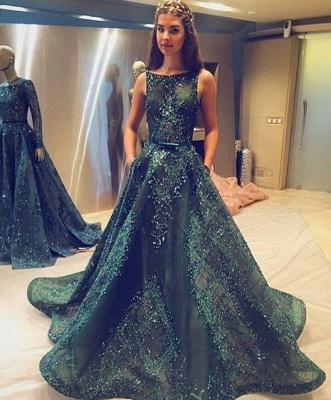Modern Jewel A-line Beading Sleeveless Sweep Train Prom Dress_3