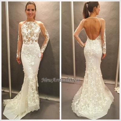 Open Back Glamorous Elegant Lace Appliques Long Sleeve Mermaid Wedding Dress Cheap_1