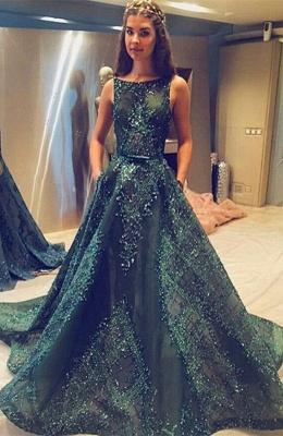 Modern Jewel A-line Beading Sleeveless Sweep Train Prom Dress_1