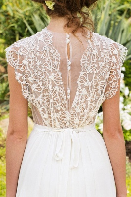 Sleeveless V-neck Lace Wedding Dresses Cheap | Chiffon Backless Simple Bridal Gowns_5