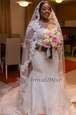 Appliques Tulle Mermaid See Through New Lace Half Sleeve Scoop Wedding Dresses Cheap Online_1