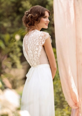 Sleeveless V-neck Lace Wedding Dresses Cheap | Chiffon Backless Simple Bridal Gowns_3