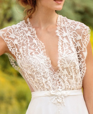 Sleeveless V-neck Lace Wedding Dresses Cheap | Chiffon Backless Simple Bridal Gowns_4