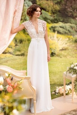 Sleeveless V-neck Lace Wedding Dresses Cheap | Chiffon Backless Simple Bridal Gowns
