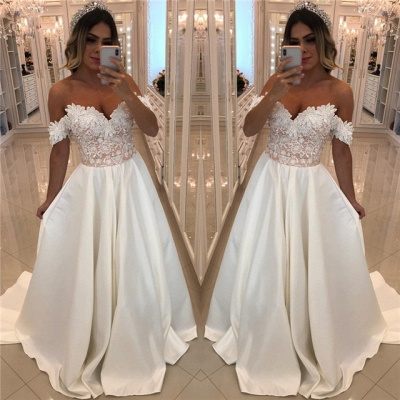 Luxury Off-The-Shoulder Puffy Prom Dresses | Appliques Beaded Long Prom Dresses_3