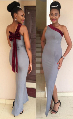 Gorgeous One Shoulder MermaidProm Dress Long Bowknot With Slit_1