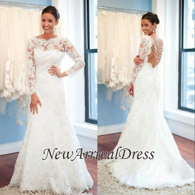 Sexy Open Back A-Line Plus Size LaceSleeves Elegant Wedding Dresses Cheap Online_1