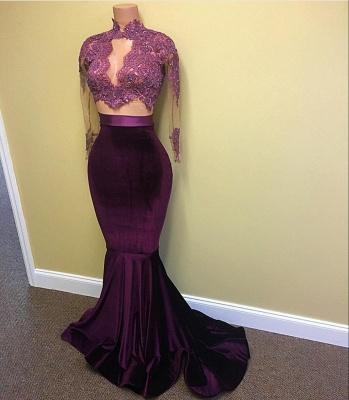 Long Sleeve Mermaid Modest High Neck Lace Appliques Prom Dresses Cheap BA4641_4