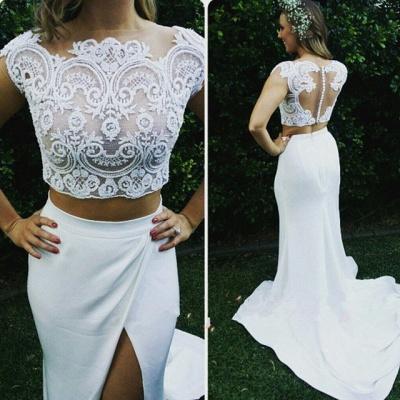 Zipper Sweep Train Mermaid Beautiful Lace Modest Two Piece Wedding Dresses_3