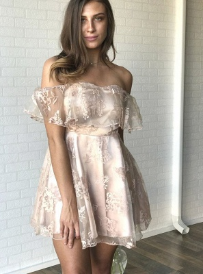 Newest Lace Off-the-shoulder Short Sleeve Homecoming Dress |A-line Short Party Gown_1