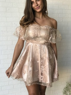 Newest Lace Off-the-shoulder Short Sleeve Homecoming Dress |A-line Short Party Gown_3