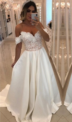 Luxury Off-The-Shoulder Puffy Prom Dresses | Appliques Beaded Long Prom Dresses_1