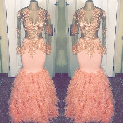 Coral Pink Mermaid Long Sleeve Long Prom Dresses Cheap | Sheer Tulle Appliques Ruffles Formal Dresses_3