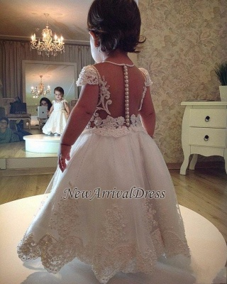 Flower A-line Pearls Short-Sleeves Lace Girl Dress