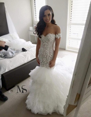 Off The Shoulder Mermaid Wedding Dresses Cheap   Online Long Train Bridal Gowns With Ruffles_1