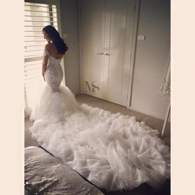 Off The Shoulder Mermaid Wedding Dresses Cheap   Online Long Train Bridal Gowns With Ruffles_3