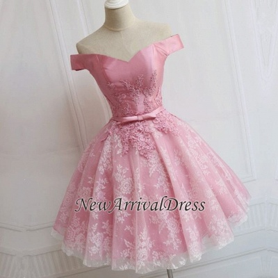 Off The Shoulder Custom Made A-line Appliques Bowknot Pink Elegant Sexy Short Homecoming Dresses_1