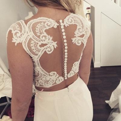 Zipper Sweep Train Mermaid Beautiful Lace Modest Two Piece Wedding Dresses_4