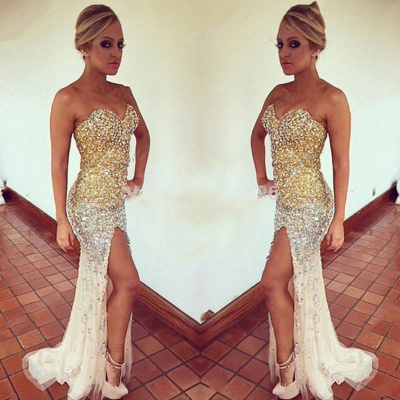 Gorgeous Sweetheart Sleeveless Crystals Prom Dress   Front Split Evening Gown_3