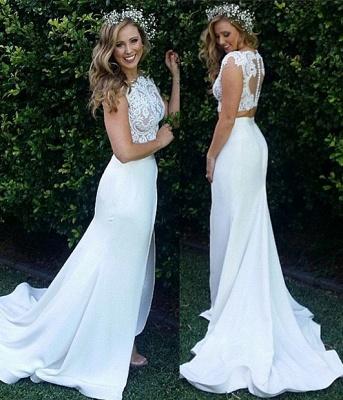 Zipper Sweep Train Mermaid Beautiful Lace Modest Two Piece Wedding Dresses_5