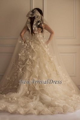 Beautiful Tulle Off The Shoulder Elegant Lace Appliques Wedding Dress Cheap_1