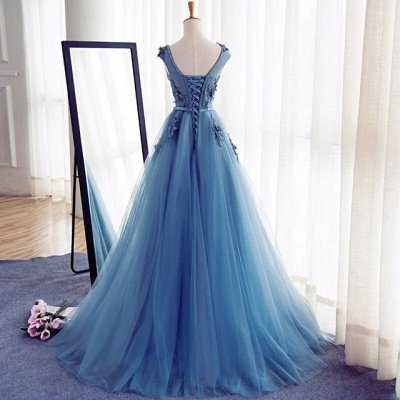 Elegant Illusion Sleeveless Lace Appliques Custom Made A-line Lace-up Prom Dresses Cheap_3