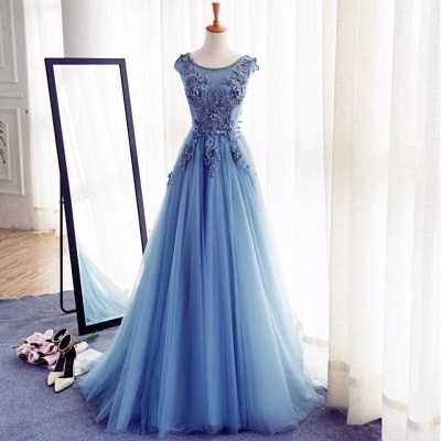 Elegant Illusion Sleeveless Lace Appliques Custom Made A-line Lace-up Prom Dresses Cheap_4