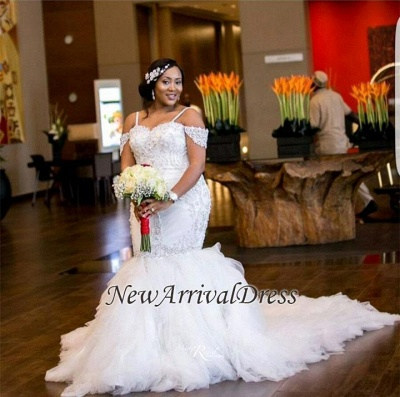 Cap-Sleeve Gorgeous Appliques Plus Size Mermaid Lace Wedding Dresses Cheap Online_1