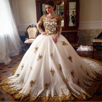 Sexy Tulle Lace Appliques Ball Gown Wedding Dresses Long Sleeve Bridal Gowns_3
