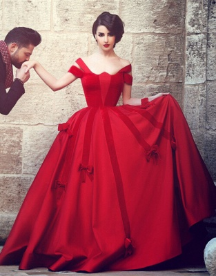 Ball Gown Wedding Dress Cheap Off The Shoulder Burgundy with Bowknots Floor Length Bridal Gowns_4