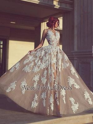 Elegant Tulle Sleeveless A-Line Appliques Evening Dresses_3