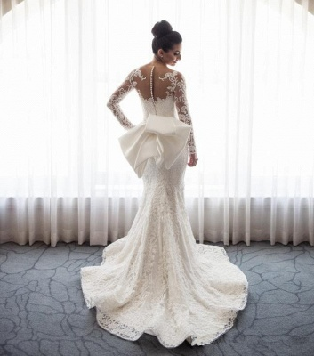 Gorgeous Mermaid Wedding Dresses with Sleeves | Bowknot Detachable Overskirt Bridal Dresses_4